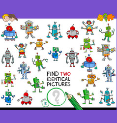 Find two identical robots educational activity vector