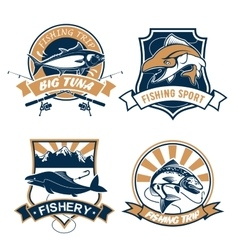 Fishing sport and fisher club icons set vector