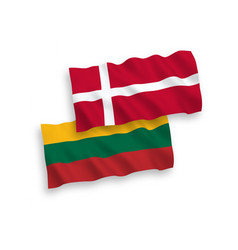 Flags lithuania and denmark on a white vector