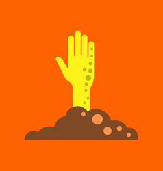 flat icon on background halloween zombie hand vector image