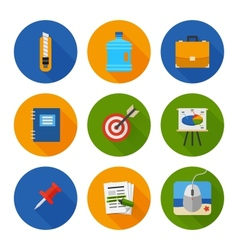 Flat Icons Set Business Office vector image