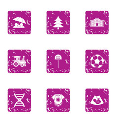 forest protection icons set grunge style vector image