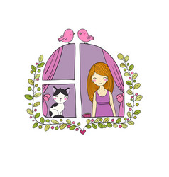 girl and cat at the window vector image