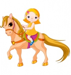 girl on horse vector image