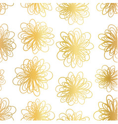 gold foil flowers seamless background vector image