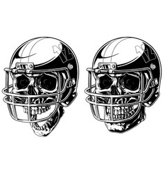 Graphic human skull in american football helmet vector