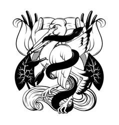hand drawn bird biting snake vector image