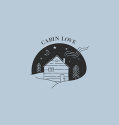 Hand drawn home wooden cabin logo icon vector