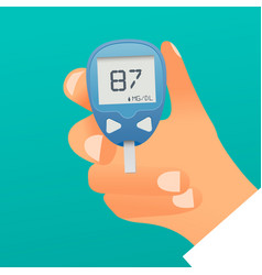hand holding blood glukose meter concept vector image