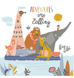 Happy animals riding on raft on lake vector