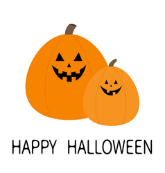 Happy halloween pumpkin set funny creepy smiling vector