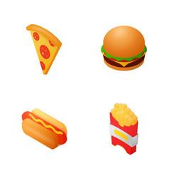 isometric fast food icon set vector image