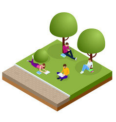 isometric free wi-fi signboard in park or campus vector image