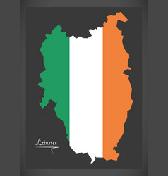 Leinster map ireland with irish national flag vector