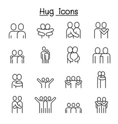 lover hug friendship relationship icon set in vector image