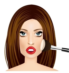 makeup artist applying powder brush to woman vector image