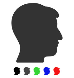 Man head flat icon vector