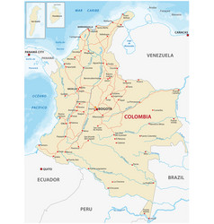 map with main roads and rivers colombia vector image
