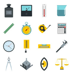 Measure precision icons set in flat style vector