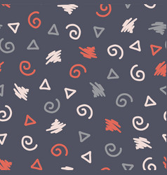 memphis style shapes seamless background vector image