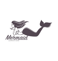 Mermaid swimming marine company name isolated icon vector