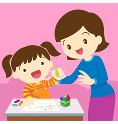 mom and kid drawing vector image