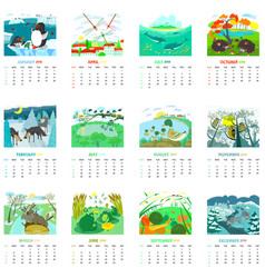 Monthly calendar 2018 with nature landscapes and vector