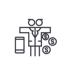 multi tasking man with money line icon vector image