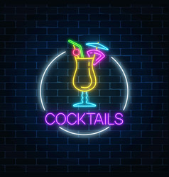 Neon cocktail glass sign in circle frame on dark vector