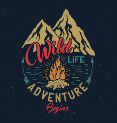 Outdoor adventure vintage emblem vector