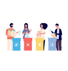 people sorting trash recyclable garbage in vector image