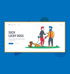People spending time with pets outdoors landing vector