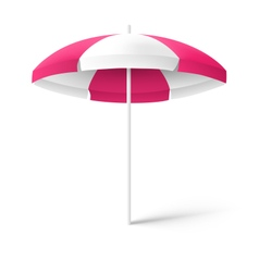 Pink sun beach umbrella isolated on white vector image