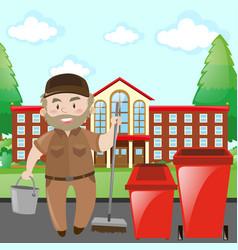 School janitor in brown uniform vector