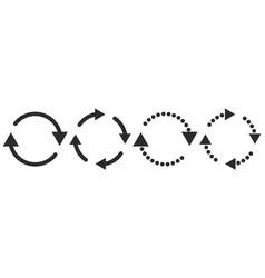 set of black circular arrows vector image
