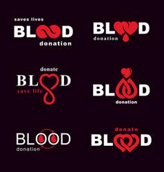 Set of blood donation conceptual hematology vector