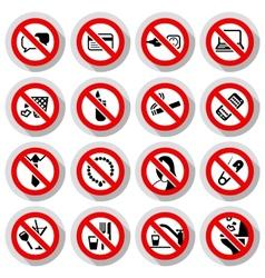 Set Prohibited symbols vector image vector image