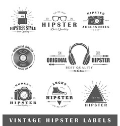 Set vintage hipster labels vector