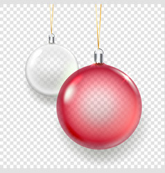 shining glass red and white christmas baubles vector image