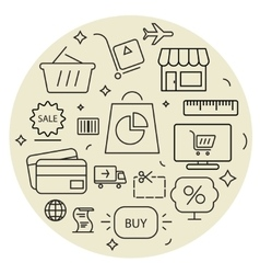 Shopping icons cirle set Thin line vector