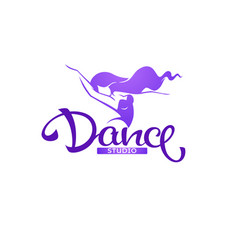 Silhouette beauty dancer logo template with vector
