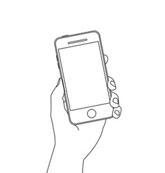single line drawing a hand holding a smartphone vector image