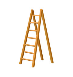 Solid wooden step ladder isolated vector