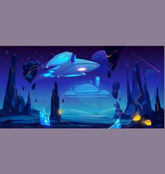 spaceship interstellar station on alien planet vector image