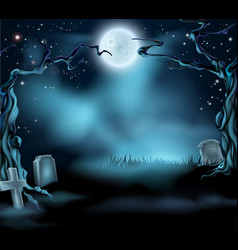 spooky halloween background scene vector image