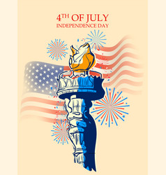 Statue liberty on fourth july background vector