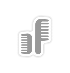 Stylish paper sticker on white background combs vector