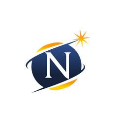 Swoosh logo letter n vector