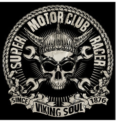 tee skull motorcycle graphic design vector image