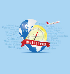 time to travel sign with globe vector image